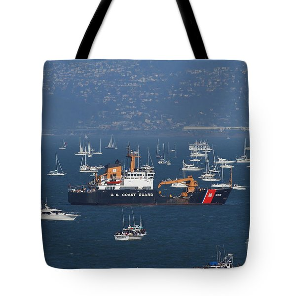 Us Coast Guard Ship Surrounded By Boats In The San Francisco Bay. 7d7895 Tote Bag by Wingsdomain Art and Photography