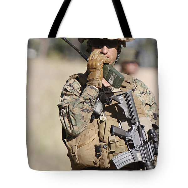 U.s. Marine Radios His Units Movements Tote Bag by Stocktrek Images