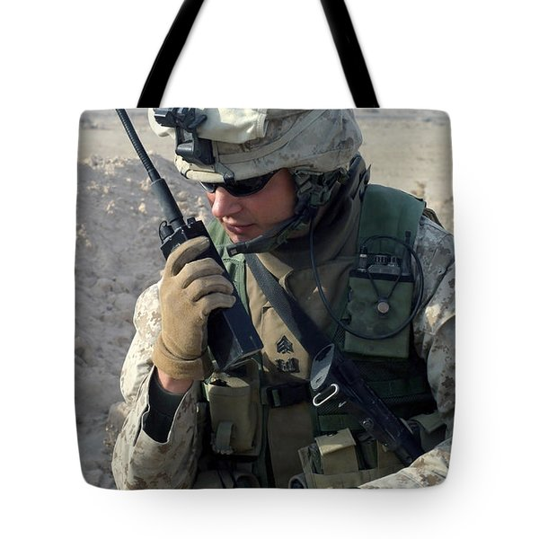 U.s. Marine Uses A Mbitr Anprc-148 Tote Bag by Stocktrek Images