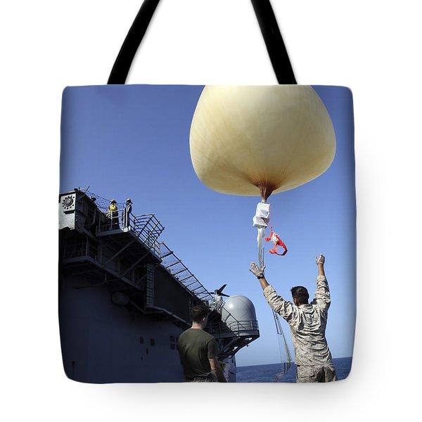 U.s. Marines Launch A Combat Skysat Tote Bag by Stocktrek Images
