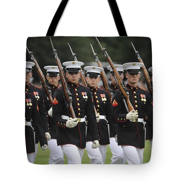 U.s. Marines March By During The Pass Tote Bag by Stocktrek Images