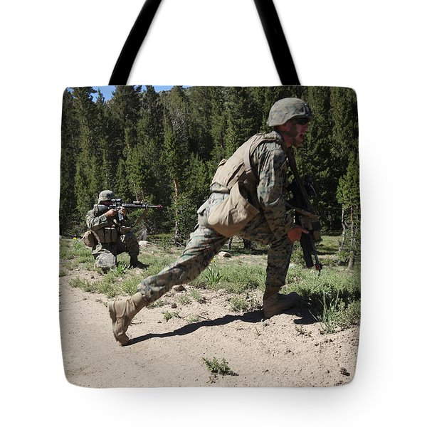 U.s. Marines Training At The Mountain Tote Bag by Stocktrek Images