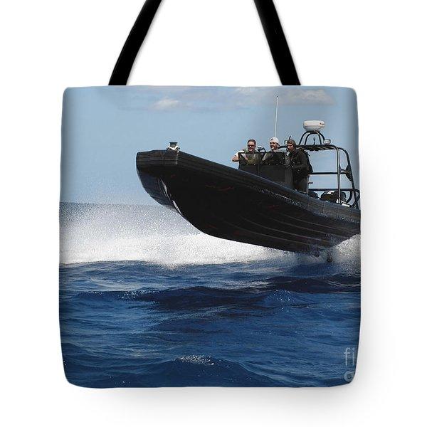 U.s. Navy Sailors Operate A Nine-meter Tote Bag by Stocktrek Images