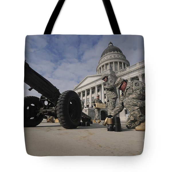 U.s. Soldiers Clean Up After Firing Tote Bag by Stocktrek Images