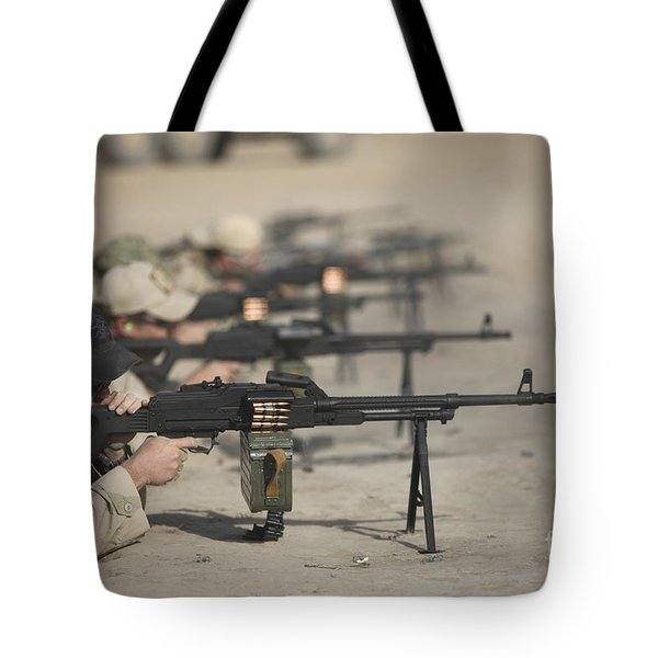 U.s. Soldiers Firing Pk 7.62 Mm Tote Bag by Terry Moore