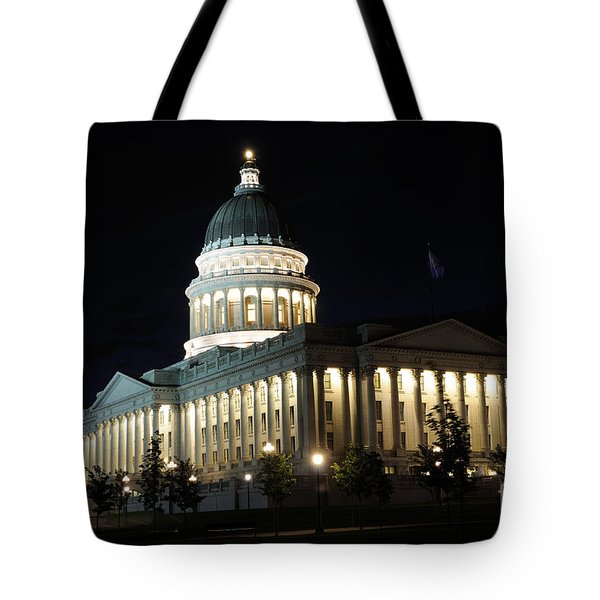 Utah Capitol At Night Tote Bag by Gary Whitton