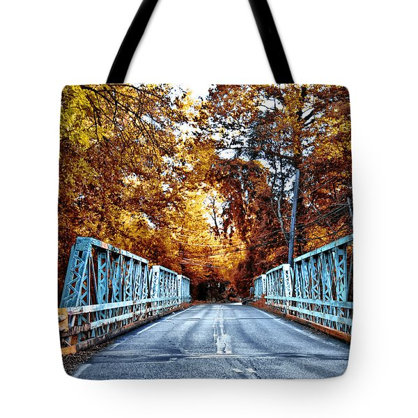 Valley Green Road Bridge in Autumn Tote Bag by Bill Cannon