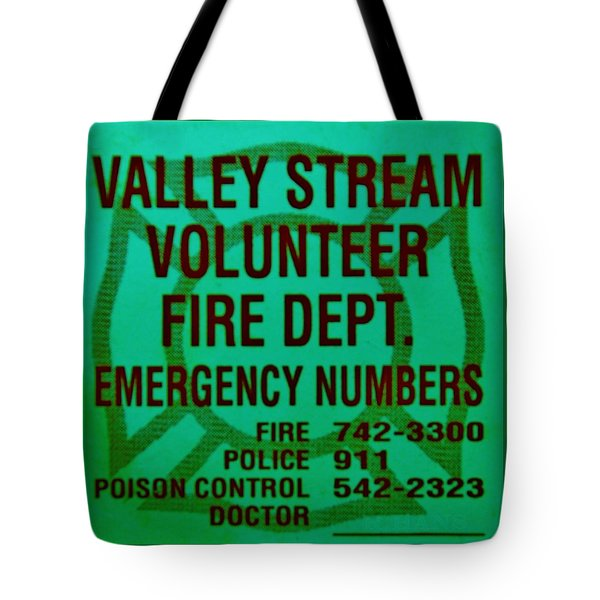Valley Stream Fire Department In Irish Green Tote Bag by Rob Hans