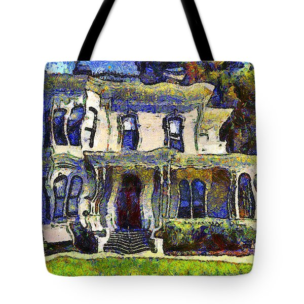 Van Gogh Visits The Old Victorian Camron-Stanford House in Oakland California . 7D13440 Tote Bag by Wingsdomain Art and Photography
