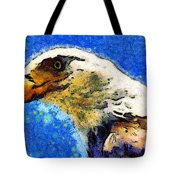 Van Gogh.s American Eagle Under A Starry Night . 40D6715 Tote Bag by Wingsdomain Art and Photography