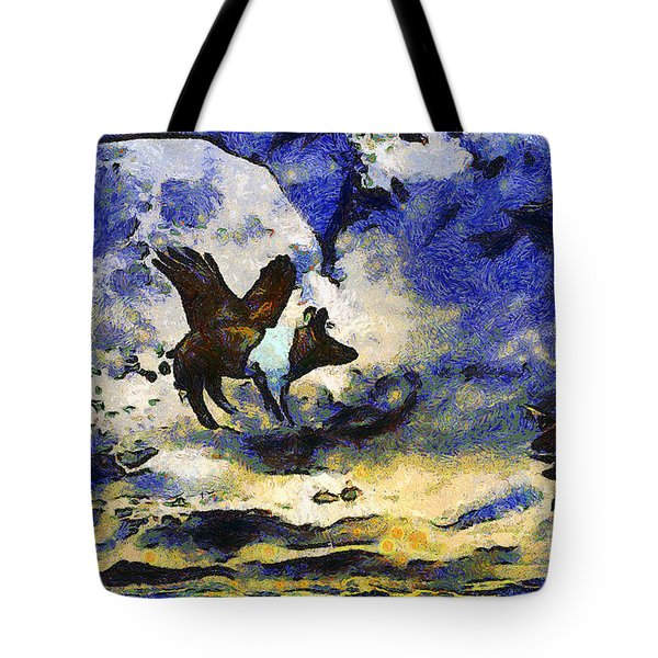 Van Gogh.s Flying Pig 2 Tote Bag by Wingsdomain Art and Photography