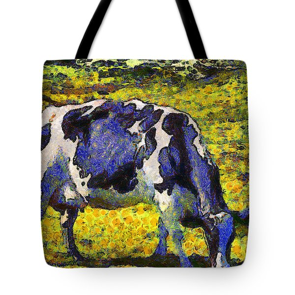 Van Gogh.s Starry Blue Cow . 7d16140 Tote Bag by Wingsdomain Art and Photography