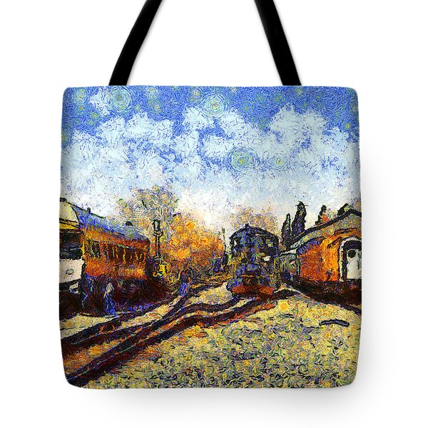 Van Gogh.s Train Station 7D11513 Tote Bag by Wingsdomain Art and Photography