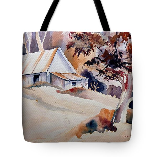 Vermont Sugar Shack Cabin In Winter Tote Bag by Carole Spandau