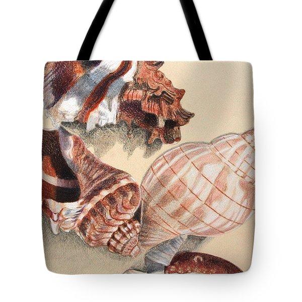 Vertical Conch Shells Tote Bag by Glenda Zuckerman