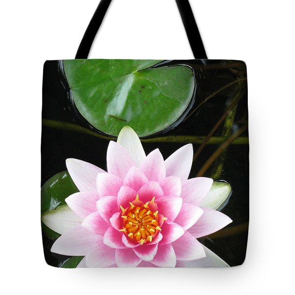 Vertical Water Lily Tote Bag by Debbie Finley