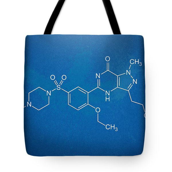 Viagra Molecular Structure Blueprint Tote Bag by Nikki Marie Smith