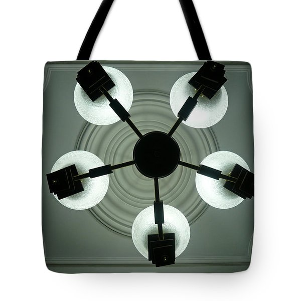 View of 5 bulb chandelier against a decorated ceiling from underneath Tote Bag by Ashish Agarwal