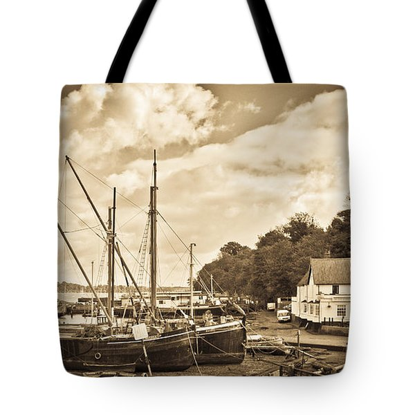 View Of Pin Mill From King's Yard Sepia Tote Bag by Gary Eason