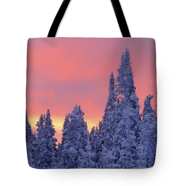 View Of Snow-covered Trees And Sky Tote Bag by Yves Marcoux