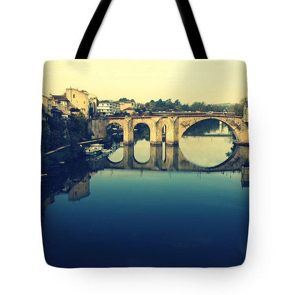 Villeneuve sur Lot's River Tote Bag by Nomad Art And  Design