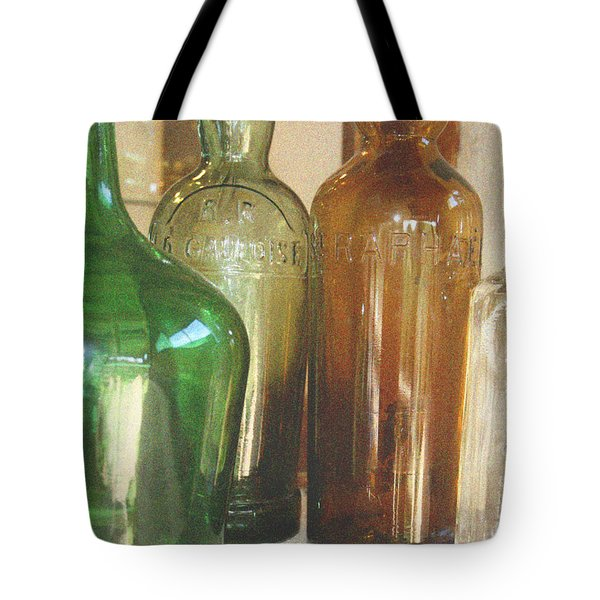 Vintage bottles Tote Bag by Nomad Art And  Design