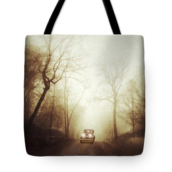 Vintage Car On Foggy Rural Road Tote Bag by Jill Battaglia
