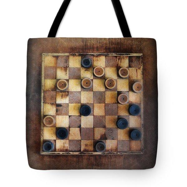 Vintage Checkers Game Tote Bag by Jill Battaglia