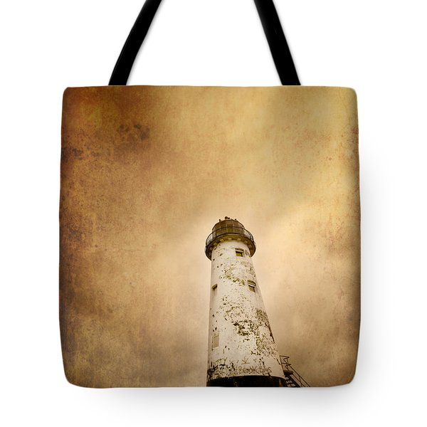 vintage lighthouse Tote Bag by Meirion Matthias