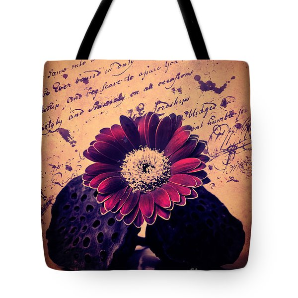 Vintage Passion Letters Tote Bag by Angela Doelling AD DESIGN Photo and PhotoArt
