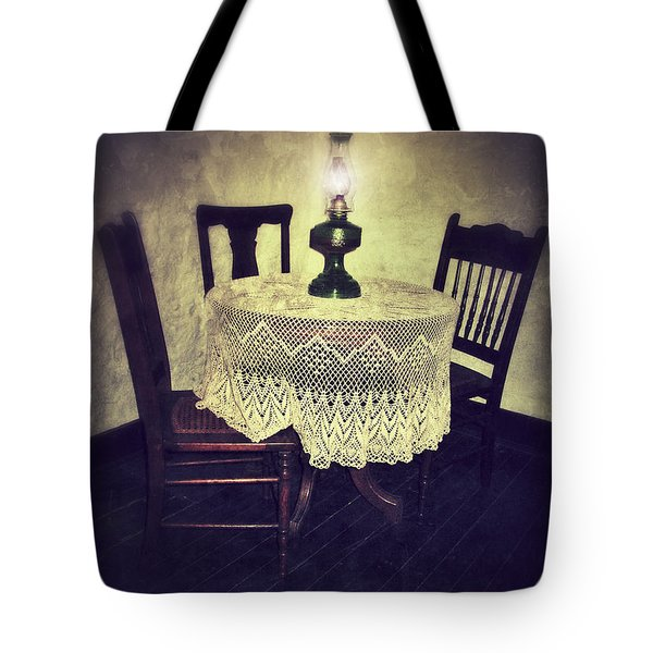 Vintage Table And Chairs By Oil Lamp Light Tote Bag by Jill Battaglia