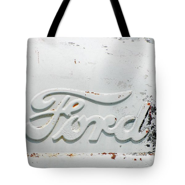Vintage White Ford Sign Tote Bag by Anahi DeCanio