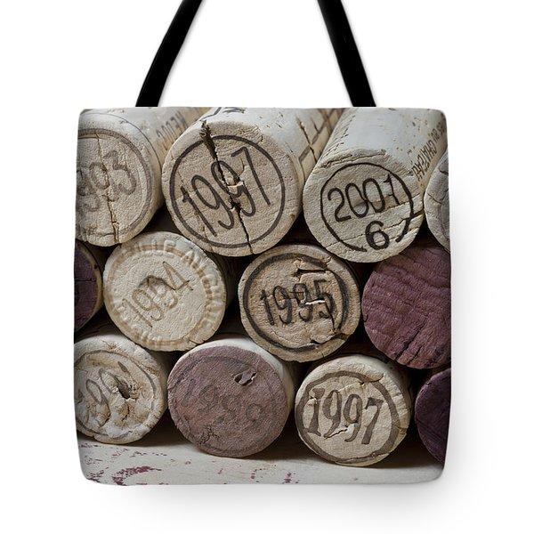Vintage Wine Corks Tote Bag by Frank Tschakert