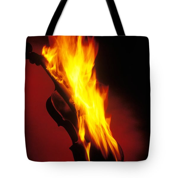 Violin on Fire Tote Bag by Garry Gay