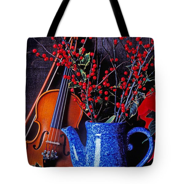 Violin with blue pot Tote Bag by Garry Gay