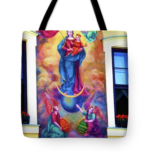 Virgin Mary Mural Tote Bag by Mariola Bitner