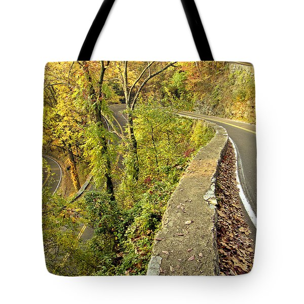W Road In Autumn Tote Bag by Tom and Pat Cory
