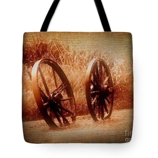 Wagon Wheels Tote Bag by Ms Judi