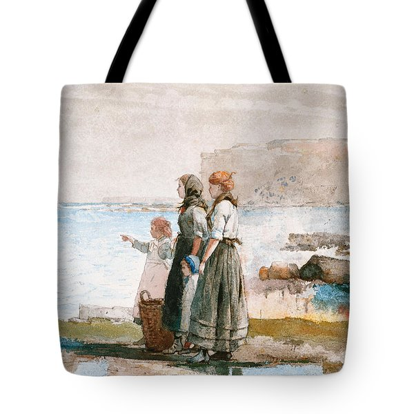 Waiting For The Return Of The Fishing Fleets Tote Bag by Winslow Homer