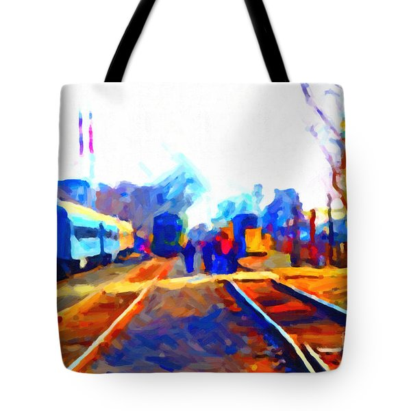 Walking On The Train Tracks In Old Sacramento California . Painterly . Vision 2 Tote Bag by Wingsdomain Art and Photography