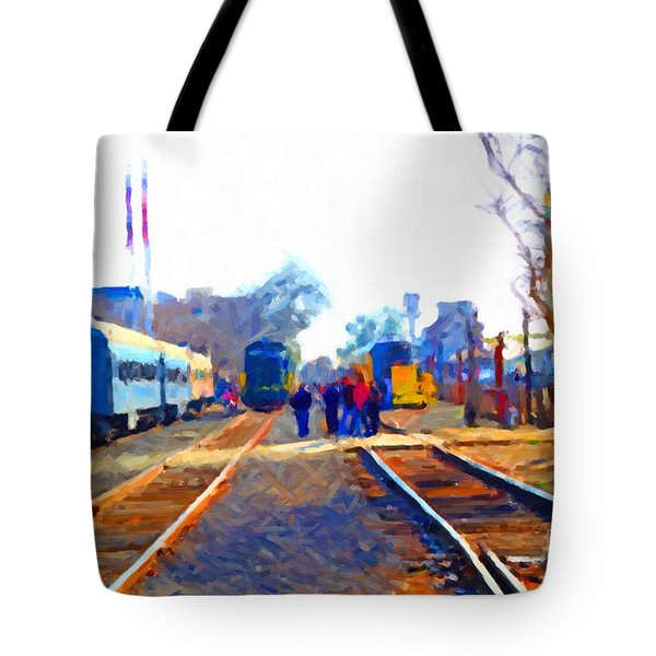 Walking On The Train Tracks In Old Sacramento California . Painterly Tote Bag by Wingsdomain Art and Photography
