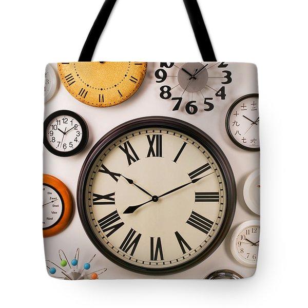 Wall Clocks Tote Bag by Garry Gay