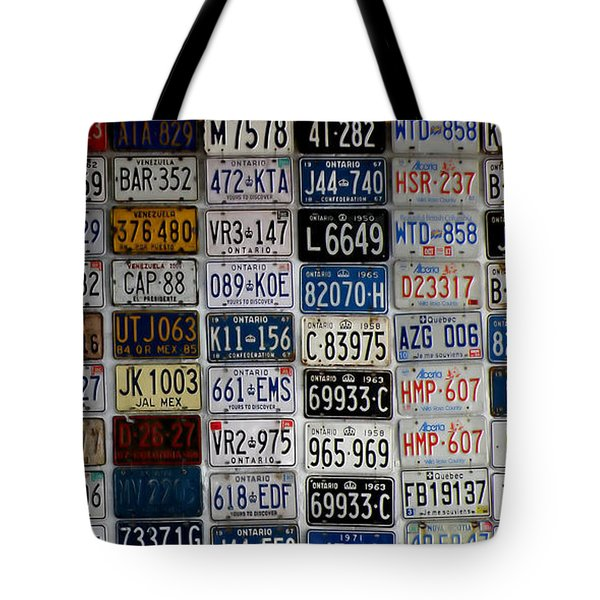 Wall Of License Plates Tote Bag by Andrew Fare