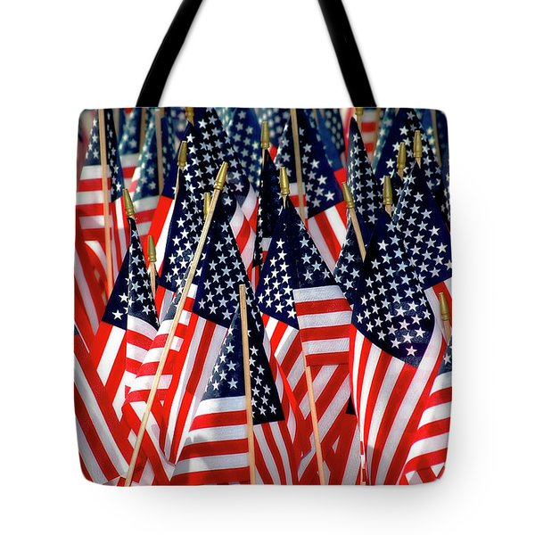 Wall of US Flags Tote Bag by Carolyn Marshall