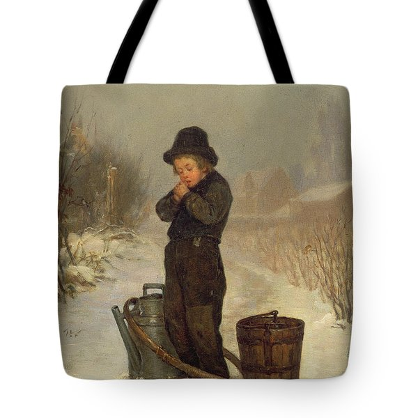 Warming His Hands Tote Bag by Henry Bacon