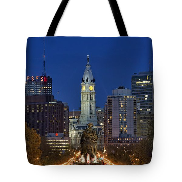 Washington Monument and City Hall Tote Bag by John Greim
