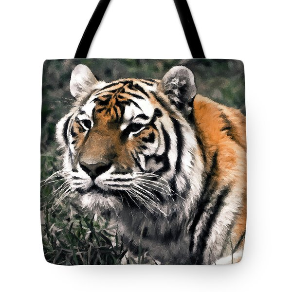 Watchful Bengal Tiger - Brush Stroke Tote Bag by Darcy Michaelchuk