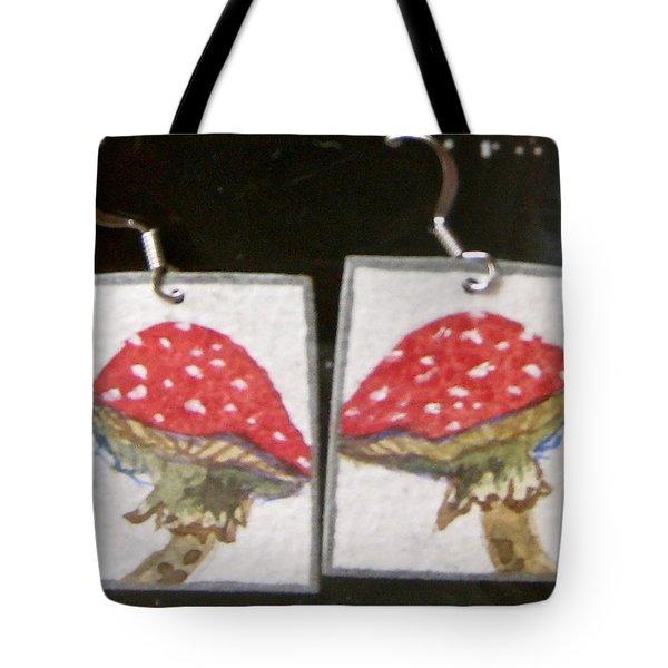 Watercolor Earrings Amanita Tote Bag by Beverley Harper Tinsley