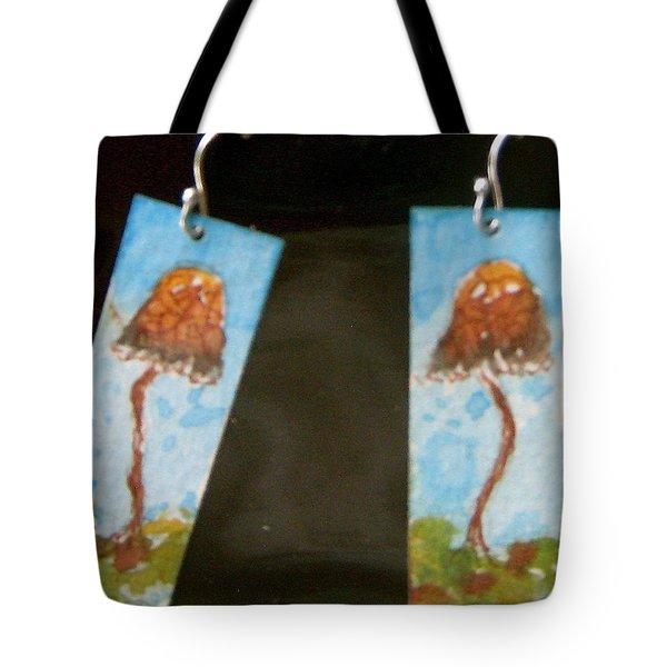 Watercolor Earrings Slender  Mushroom Tote Bag by Beverley Harper Tinsley