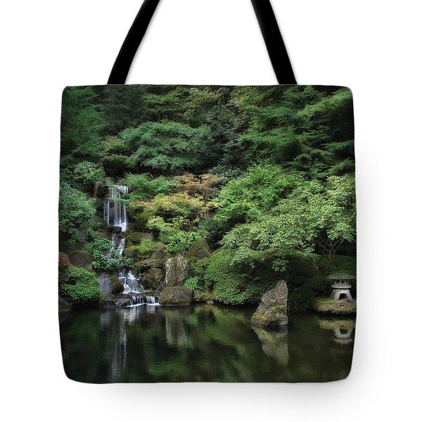 Waterfall - Portland Japanese Garden - Oregon Tote Bag by Daniel Hagerman